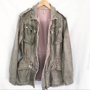 Free People military jacket army green blush Sz S